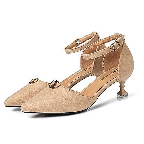 pie de Gatito Tacón de básicos Tacones Verano Zapatos Almendra Desnudo Poliuretano de Bomba del Almond ZHZNVX de Mujer PU Punta Negro PqOaW7w