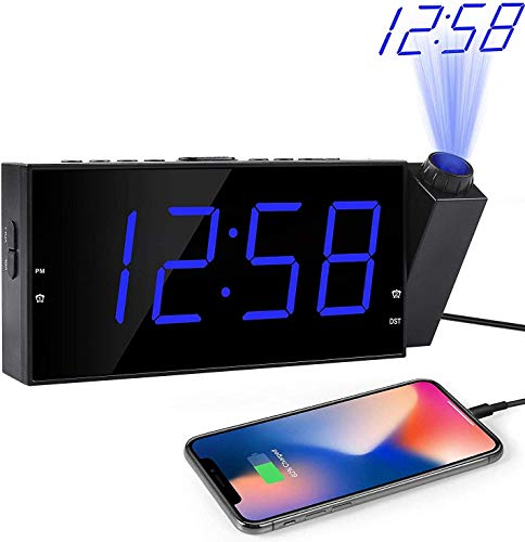 "OnLyee Projection Ceiling Wall Clock, Alarm Clock, 7"" LED Digital Desk/Shelf Clock with Dimmer, USB Charging, AC Powered and Battery Backup for Bedroom, Kitchen, Kids (Blue-Projection Clock)"