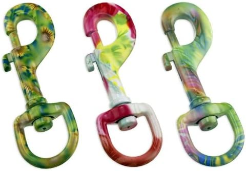 "Fun & Functional! Tie-Dye Finish 3-1/2"" Swivel Eye Snap Hook - Premium Quality"
