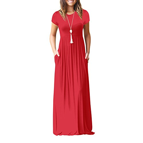 Idingding Long Maxi Dress, Womens Spring Summer Short Sleeve Plain Pleated Tunic T-Shirt Dress, 6511D Red, S
