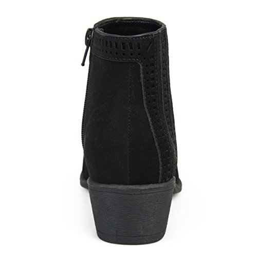 Brinley Co Womens NOLA Faux Nubuck Geometric Cut-Out Almond Toe Booties Black TSJ9gkFVX