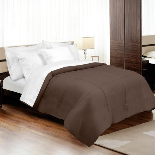 - Veratex Luxury Soft Contemporary Style 800 Thread Count 100% Cotton Sateen Shell Down Alternative Bedroom Comforter, Full Size, Espresso