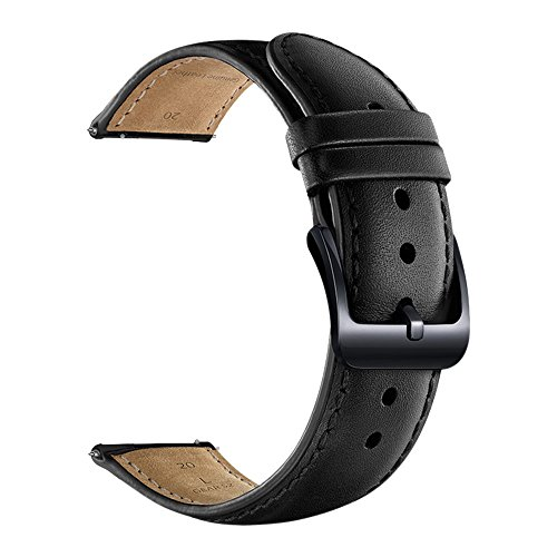 LEUNGLIK 20mm Watch Band Quick Release Leather Watch Bands with Black Stainless Pins Clasp -Black
