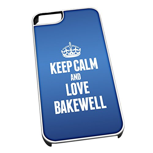 Bianco cover per iPhone 5/5S, blu 0036 Keep Calm and Love Bakewell