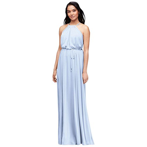 Soft Mesh Halter Bridesmaid Dress with Slim Sash Style F19533, Ice Blue, 22