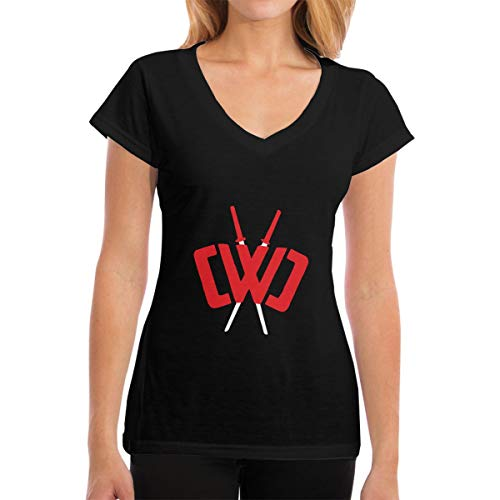 Hahamingge T-Shirt for Women, Chad Wild Clay Short Tee V Neck Cotton Summer T-Shirt for Work Sports Black (Silk Solid Dry Clay)