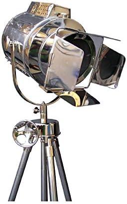 1960'S Vintage Designs Adjustable Theater SEARCHLIGHT Tripod Floor LAMP Chrome Finish Industrial Nautical Floor LAMP