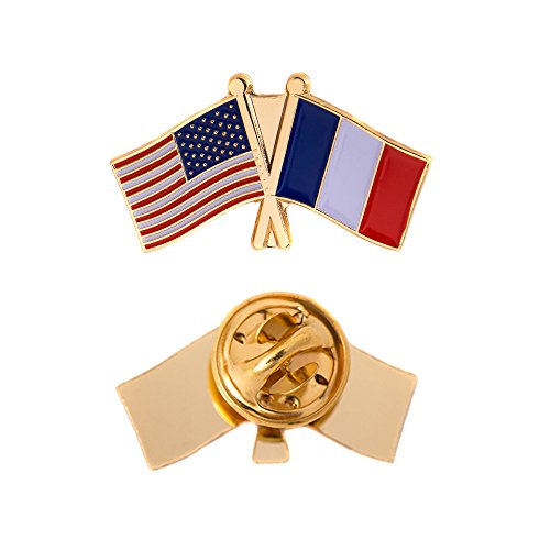 France Country Double Flag Lapel Pin Enamel with United States USA US Souvenir Hat Men Women Patriotic French (Double Flag Pin) - France Country Flag