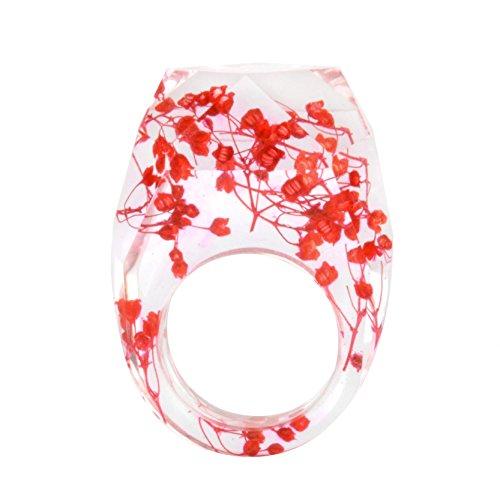 New Arrival Handmade Red Color Babysbreath Dried Flowers Diamonds Shape Transparent Resin/Plastic Women/Girl's Charm Ring -