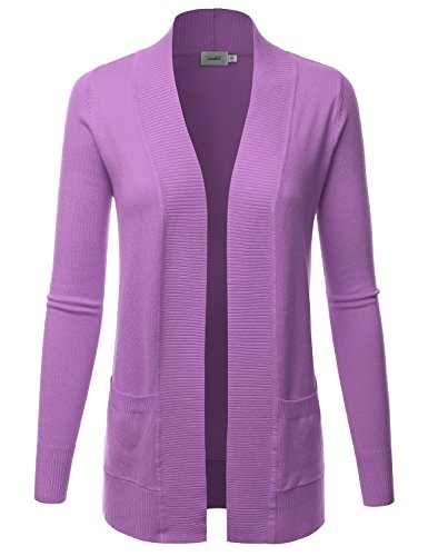 LALABEE Women's Open Front Pockets Knit Long Sleeve Sweater Cardigan-LIGHTPUPLE-M ()
