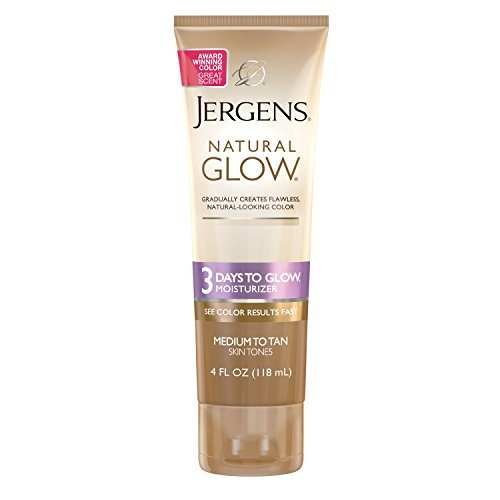 (Jergens Natural Glow 3 Days to Glow Moisturizer for Body, Medium to Tan Skin Tones, 4 Ounces )
