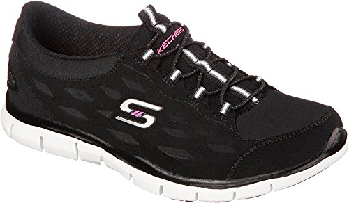 Skechers Women's Gratis Bungee Sneaker,Hit It Big/Black/White,US 6.5 M (Skechers Gratis In Motion)