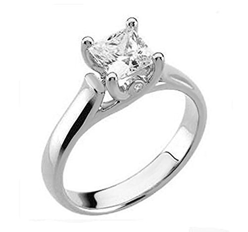 Top Grade 1.5 Carat Supreme Realistic Princess Cut Solitaire Simulated Diamond Ring