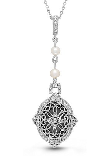 Sterling Silver Diamond Freshwater Pearl Filigree Locket Necklace Georgie by With You Lockets by With You Lockets
