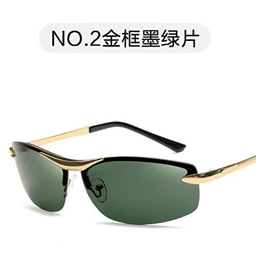 Gafas Oscuro Gafas Gafas de Verde Retro frame Sol de green Burenqiq Marco film de Moda Sol Sol polarizadas Oro polarizadas Película de de de de Hombres Espejo los Gold conducción dark dY4dSaxn