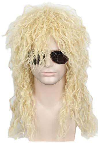 Linfairy 80s Heavy Metal Halloween Mullet Fancy Dress Wig (Curly -