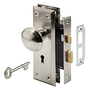 7. Prime-Line E 2330 Mortise Keyed Lock Set with Satin Nickel Knob