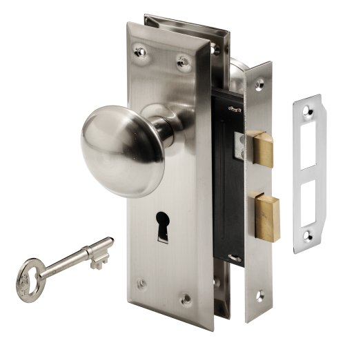 Prime-Line E 2330 Mortise Keyed Lock Set with Satin Nickel Knob - Perfect for Replacing Broken Antique Lock Sets and More, Fits 1-3/8 in.-1-3/4 in. Interior Doors (Satin Nickel)
