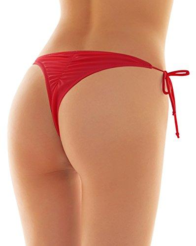 SHEKINI Womens Brazilian Low Rise Tie-Side Ruched Back Thong Bikini Bottom Swim Brief (Medium/(US 8-10), Rose ()