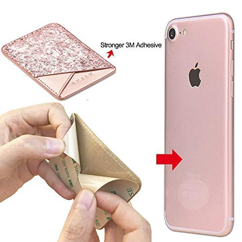 Phone Card Holder Adhesive Stick-on Credit Card Pu Leather Wallet Card Holder Back Phone case Pouch Sleeve Pocket Most Smartphones iPhone/Android /Samsung Galaxy(Rose-Gold-Blue) by Aroko (Image #2)