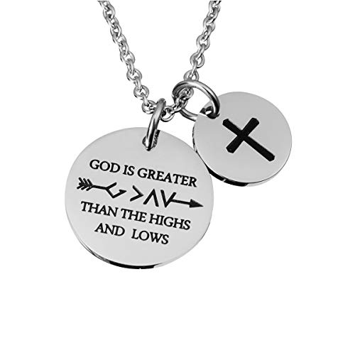 omodofo Christian Necklace Bible Verse Cross Pendant Prayer Charm Necklace Faith Religious Jewelry for Women (God is Greater Than The Highs and lows)