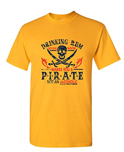 - Rum Noon Pirate Novelty Sarcastic Drinking Funny T Shirt XL Gold