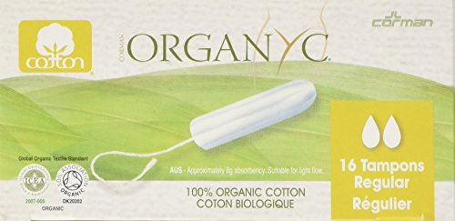Organyc 100% Organic Cotton Tampon without applicator for Sensitive Skin, REGULAR, 16 count (100% Cotton Tampons)