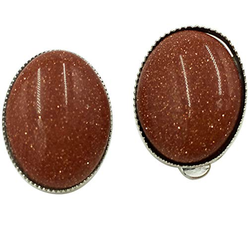 Jewelry58718 Fashion Goldstone Beads Oval Clip Earrings