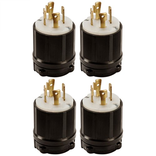 OCSParts L17-30P Grounding Locking Plug, 30A 600V AC, 3 Pole 4 Wire, cUL Listed, NEMA L17-30 (Pack of 4)