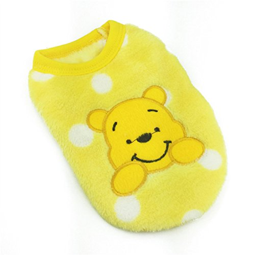 MD New Cartoon Teacup Dog Clothing Baby Pet Clothes Puppy Winter Warm Thick Sweater (XXXS, Yellow)