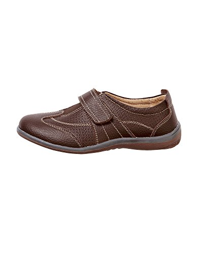 Cotton Traders Leather Leisure Flex Adjustable Trainers Shoes Womens Ladies Velcro E Fit Chocolate dFXd2cldxe