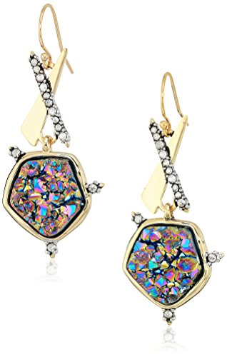 Alexis Bittar Druzy Wire Earrings, 10K Gold with Antique Rhodium Accents, One Size 10k Gold Antique
