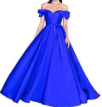 Gralre Women's Charming Off Shoulder Prom Dresses V Neckline Long Ballgown Formal Evening Gowns Royal Blue US12