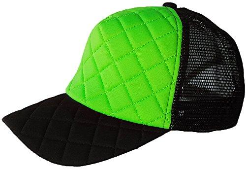 (Men's Baseball Cap Adjustable Quilted Trucker Mesh Hat Curved Visor LIME BLACK)