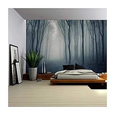 Made With Top Quality, Alluring Creative Design, Leaf Covered Pathway in an Ominous Forest Wall Mural