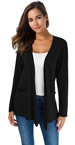 TownCat Women's Loose Casual Long Sleeved Open Front Breathable Cardigans with Pocket (Black, L) ()