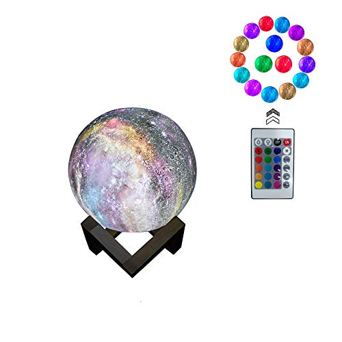 Price comparison product image 3D Moon Lamp Light,  Night Light 16 Colors 3D Galaxy LED Lamp Remote & Touch Control USB Rechargeable,  Room Décor for Birthday Party Kids Baby Gifts(3.2inch)