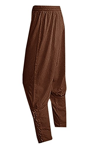 Meilidress Men's Ankle Banded Pants Medieval Viking Navigator Trousers Renaissance Pants (XXX-Large, Brown)