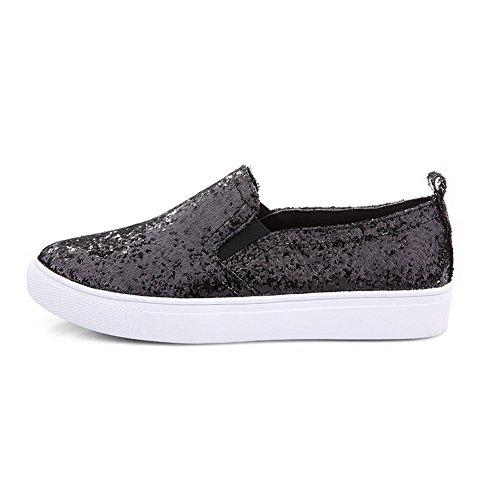 AllhqFashion Damen Rund Schließen Zehe Niedriger Absatz Blend-Materialien Rein Pumps Schuhe Schwarz