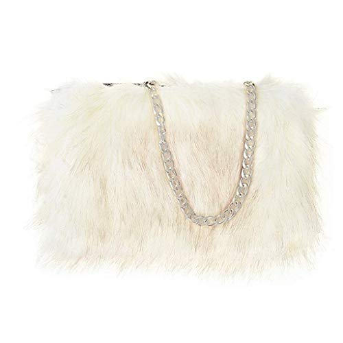 FHQHTH Faux Fur Purse Fuzzy Shoulder Bags Handbag For Women Purse Aluminum Chain Shoulder Strap [White With Tips]