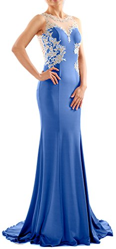 MACloth Women Mermaid Lace Jersey Long Prom Dress Formal Party Evening Gown Azul