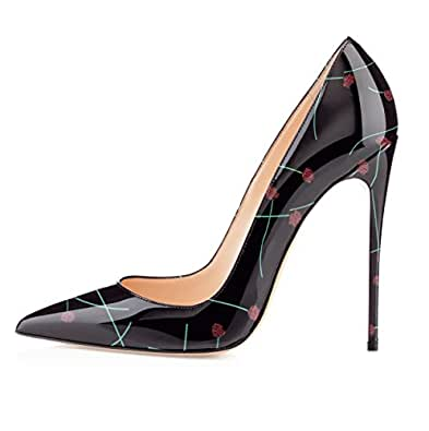 YODEKS Womens Pointed Toe High Heels Slip On Stiletto Pumps Wedding Party Basic Shoes 12cm Black Size: 5.5