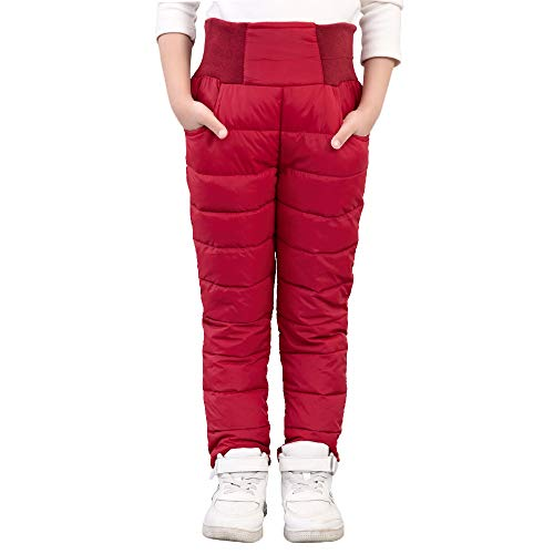 UGREVZ Girls Boys Snow Pants 2-10 Years Old Thick Winter Warm Pants Girl Activewear Clothes(A0001Red-4T)