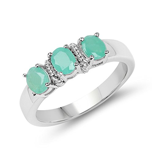 Stone Genuine Ring Emerald 3 (Johareez 1.05 Carat Genuine Emerald .925 Sterling Silver 3-Stone Ring)