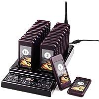 Tivdio T112 Système D'Appel sans Fil Restaurant Bipeur avec 1 Émetteur de Chargement et 20 Bipeurs Rechargeables pour Restaurant Usine Snack-Bar Église Centre de la Gastronomie Garantir 1 an (Noir)