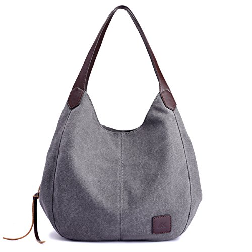 Hiigoo Fashion Women's Multi-pocket Cotton Canvas Handbags Shoulder Bags Totes Purses (Grey)
