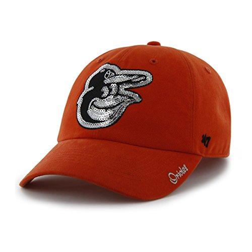 '47 MLB Baltimore Orioles Women's Sparkle Clean Up Hat, Women's, Orange ()