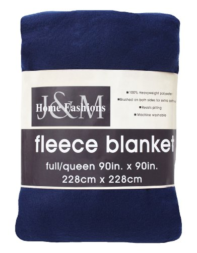 J&M Home Fashions Luxury Solid Fleece Blanket Throw, Full/Qu