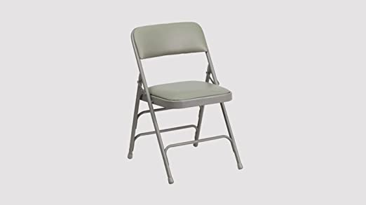 Flash Furniture HERCULES Series Curved Triple Braced Double Hinged Black Vinyl Metal Folding Chair