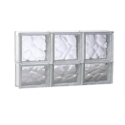 REDI2SET Wavy Glass Pattern Frameless Replacement Glass Clear Block Window  (Rough Opening: 23.75